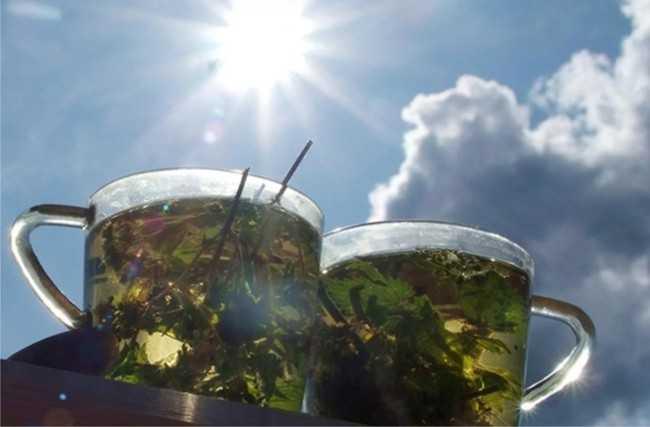 горячий чай на солнце