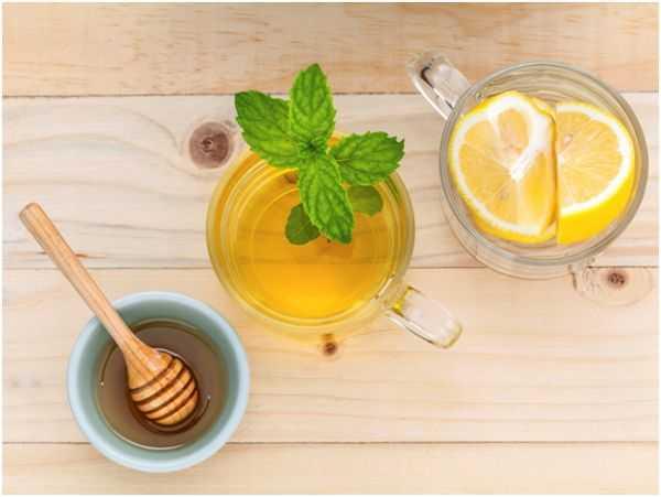 мед, чай с мятой и лимон
